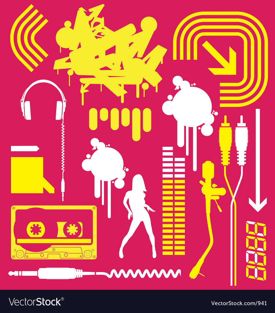 Club flyer graphic elements vector image