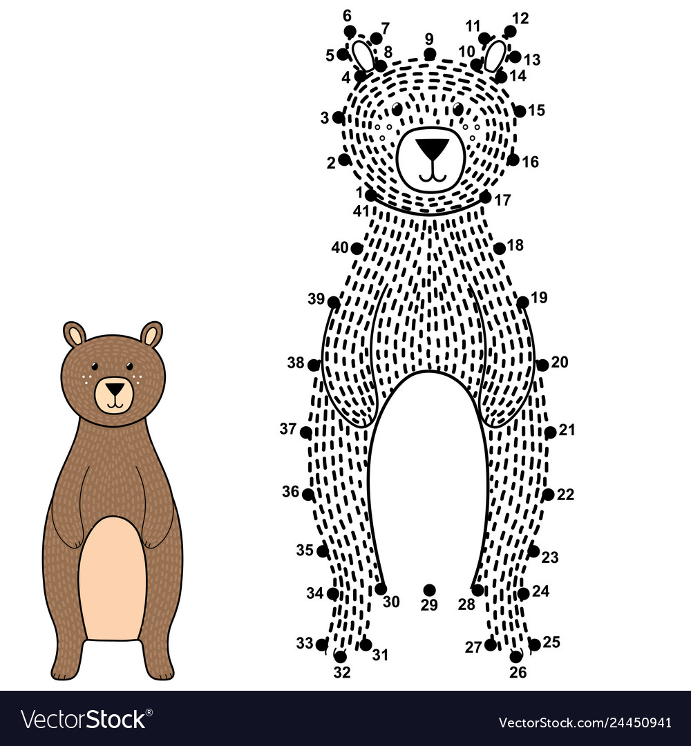 Connect the dots and draw a cute bear