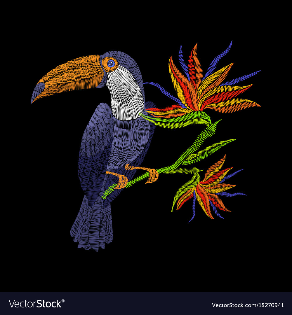 Embroidery toucan with tropical flowers