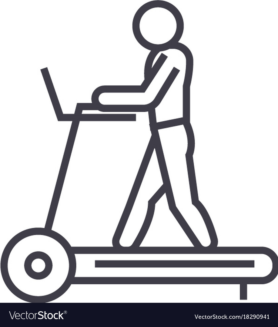 Fitness treadmill concept thin line icon vector image