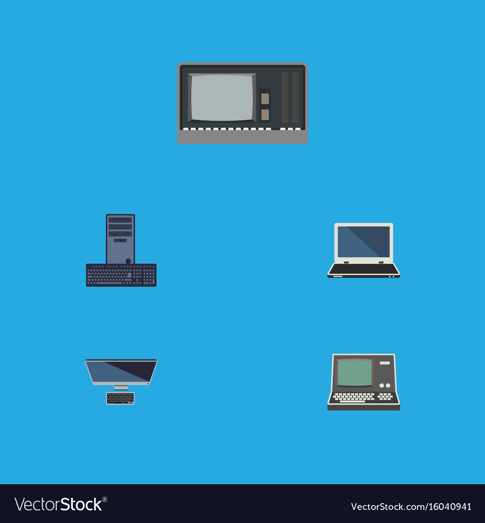 Flat icon laptop set of processor vintage vector image
