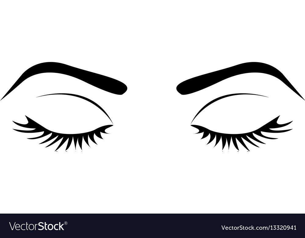 Monochrome Silhouette With Female Eyes Closed And Vector Image