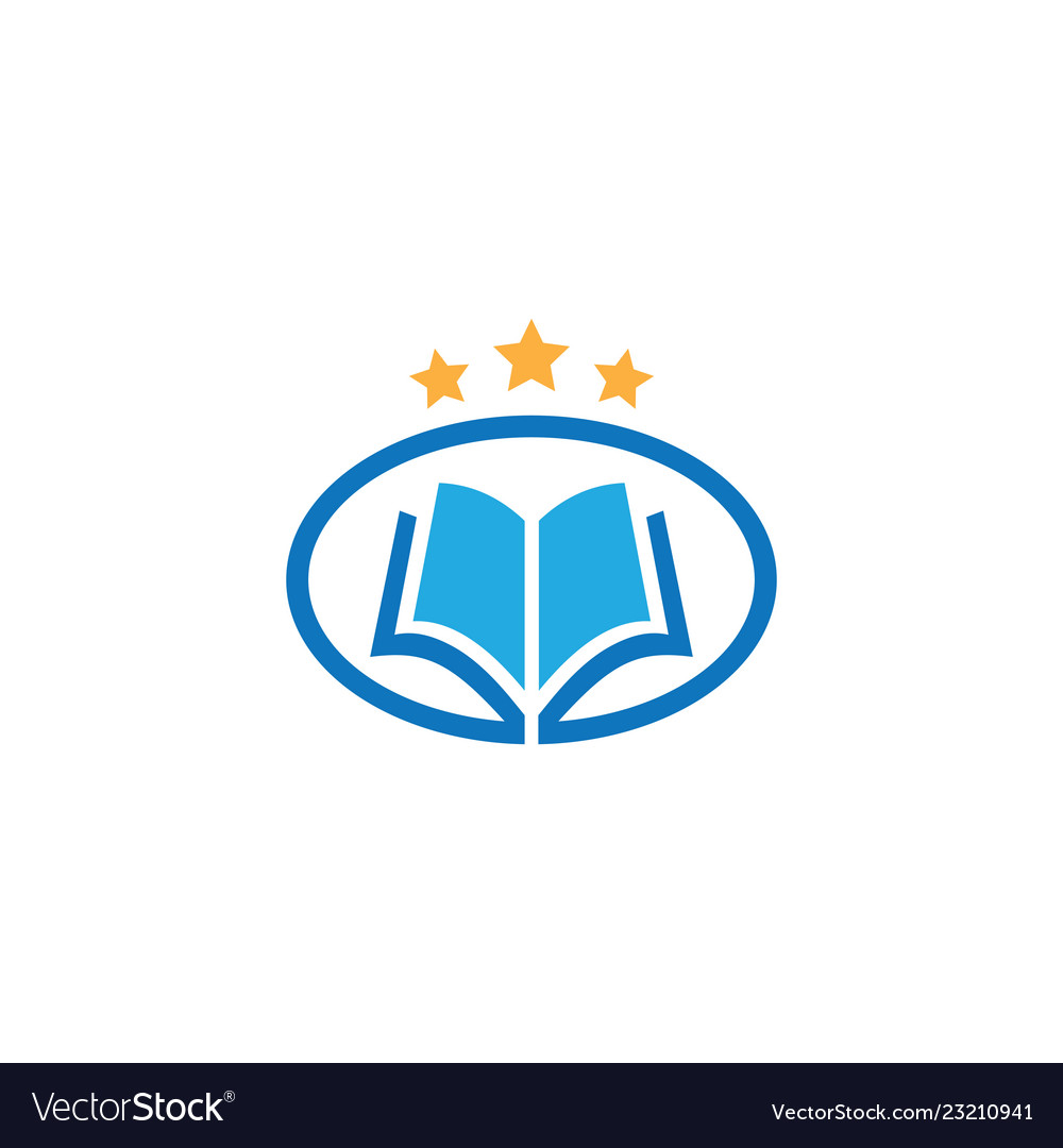 Oval book star education logo