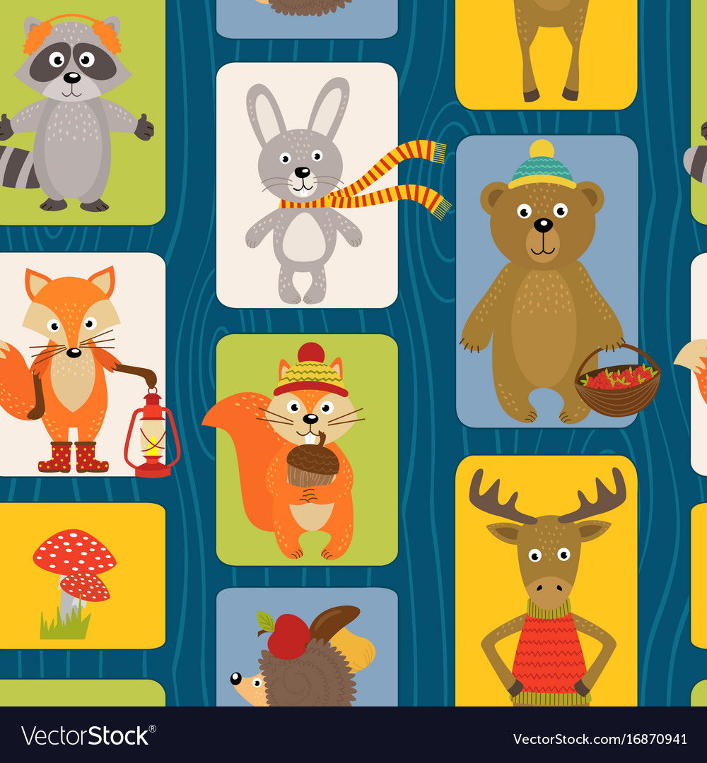 Seamless pattern with animals of forest