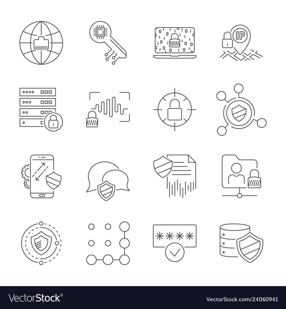 Set icons of cyber protection and internet