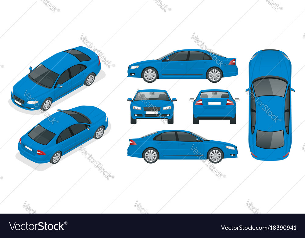 Set of sedan cars isolated car template for