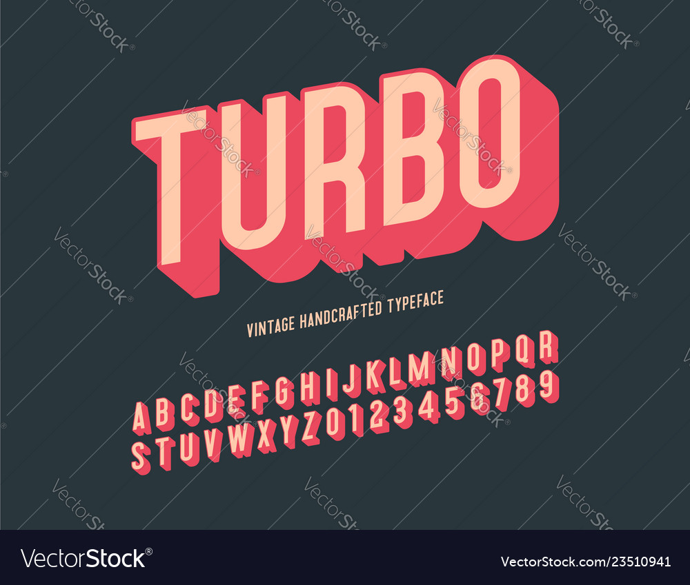Turbo vintage handcrafted 3d alphabet