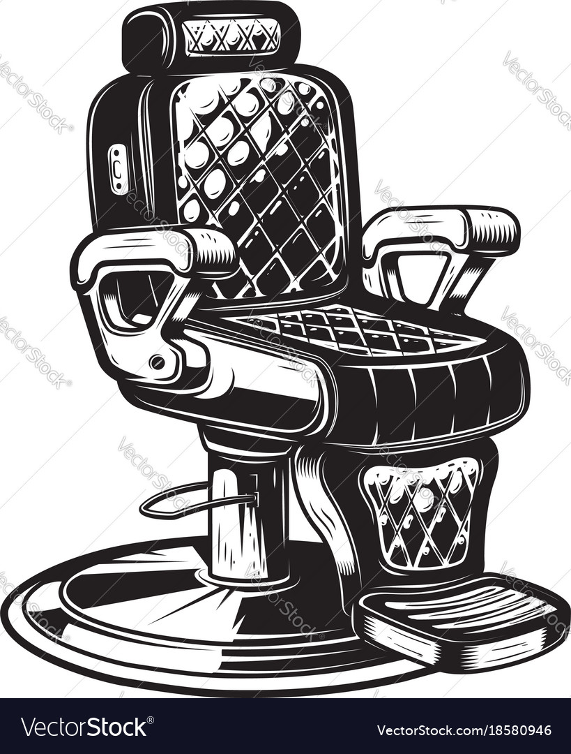 Barber Chair On White Background Vector Image