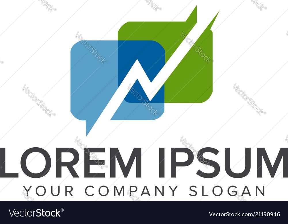 Chat progress logo design concept template