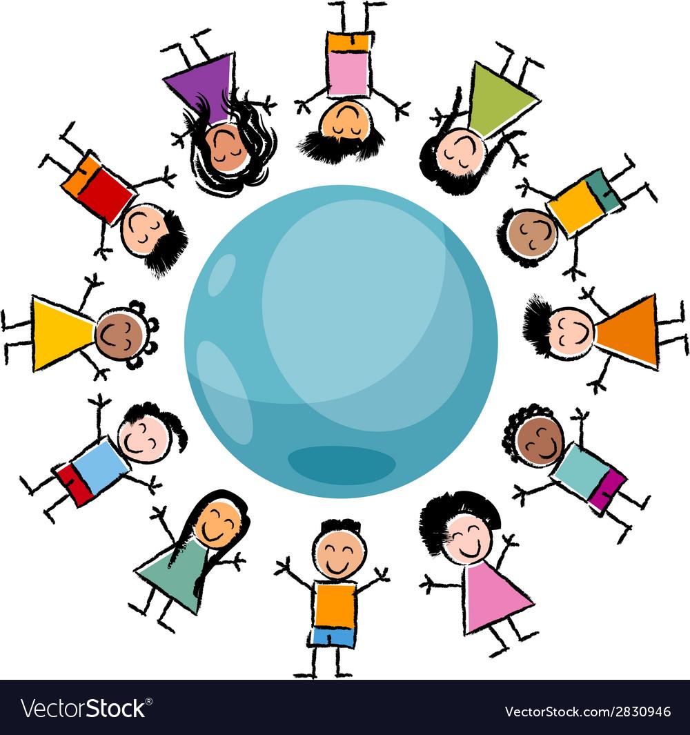 Children and globe cartoon