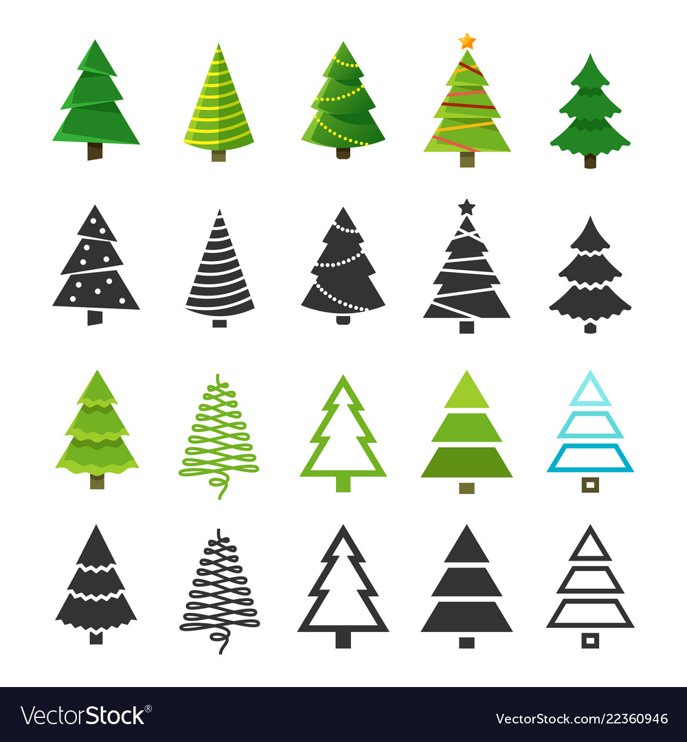 Flat christmas winter trees with festive xmas