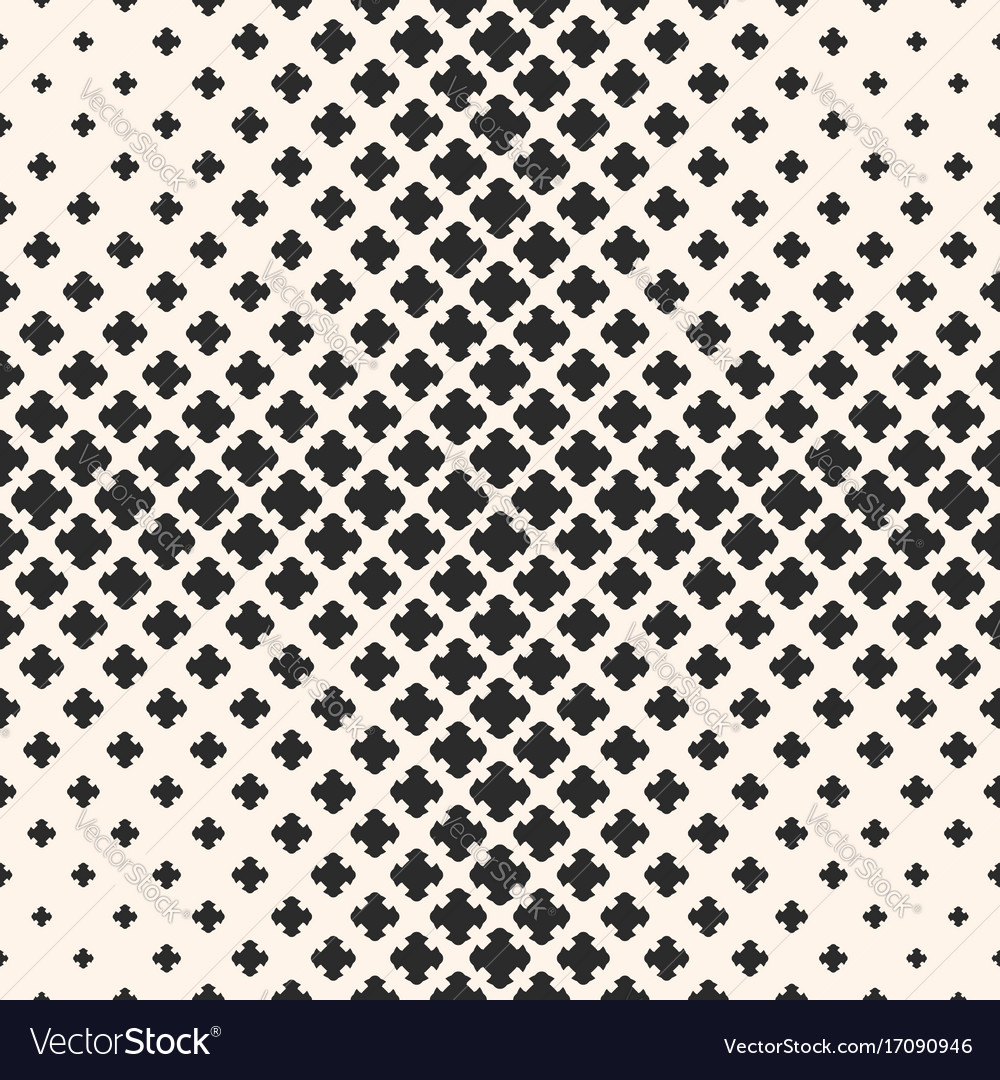Halftone seamless texture with floral crosses