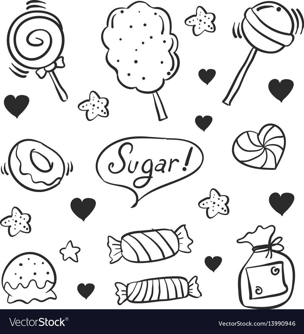 Hand draw candy various doodle style