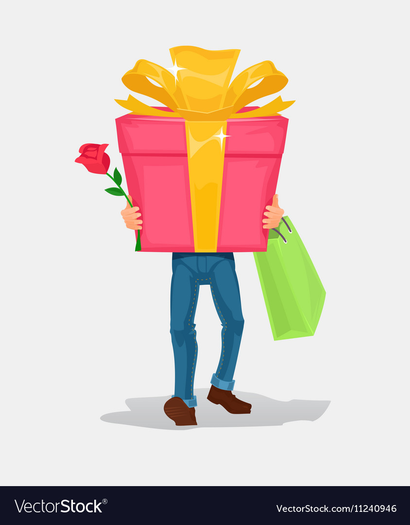 Man carries a cardboard box gift vector image