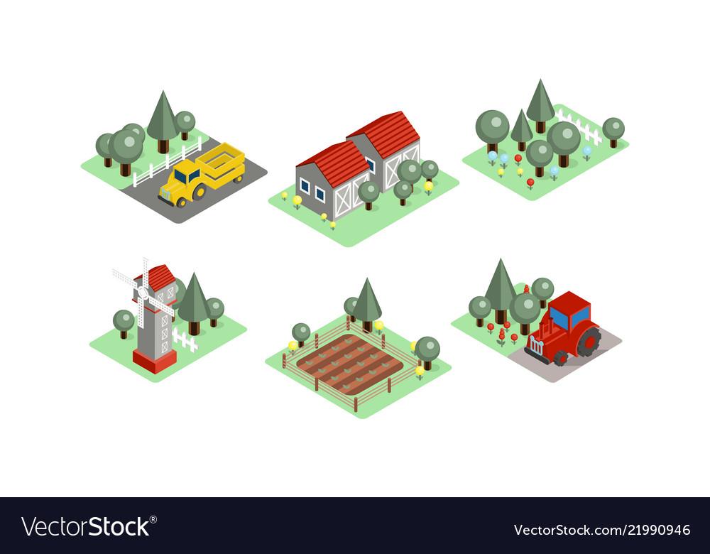Set isometric farm icons tractors