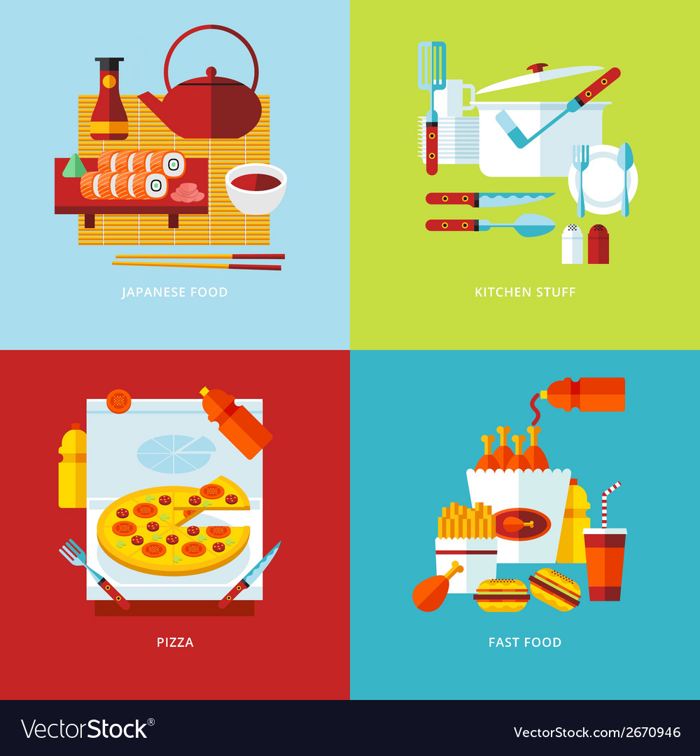 Set of flat design concept icons for food and