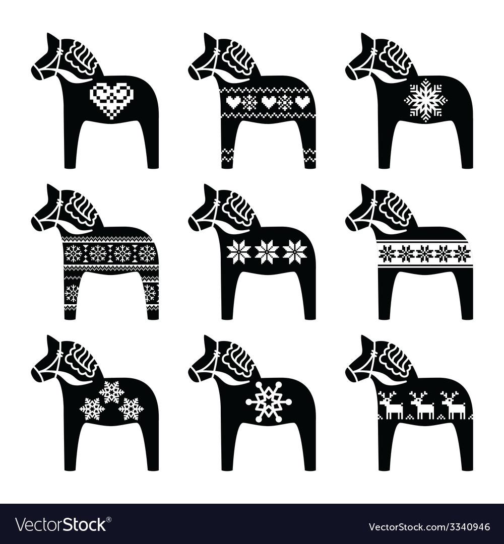 Swedish Dala Dalecarlian Horse Winter Pattern Vector Image