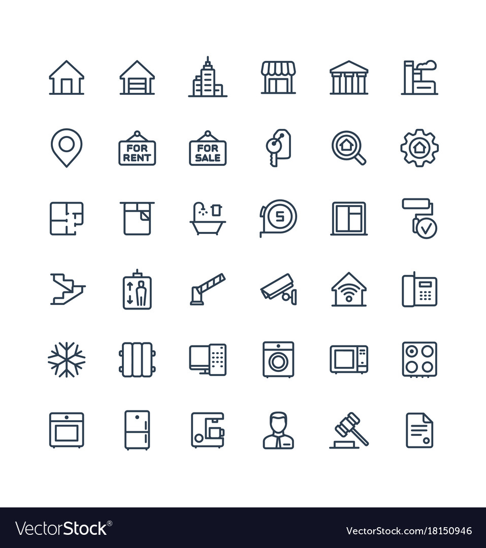 Thin line icons set with real estate