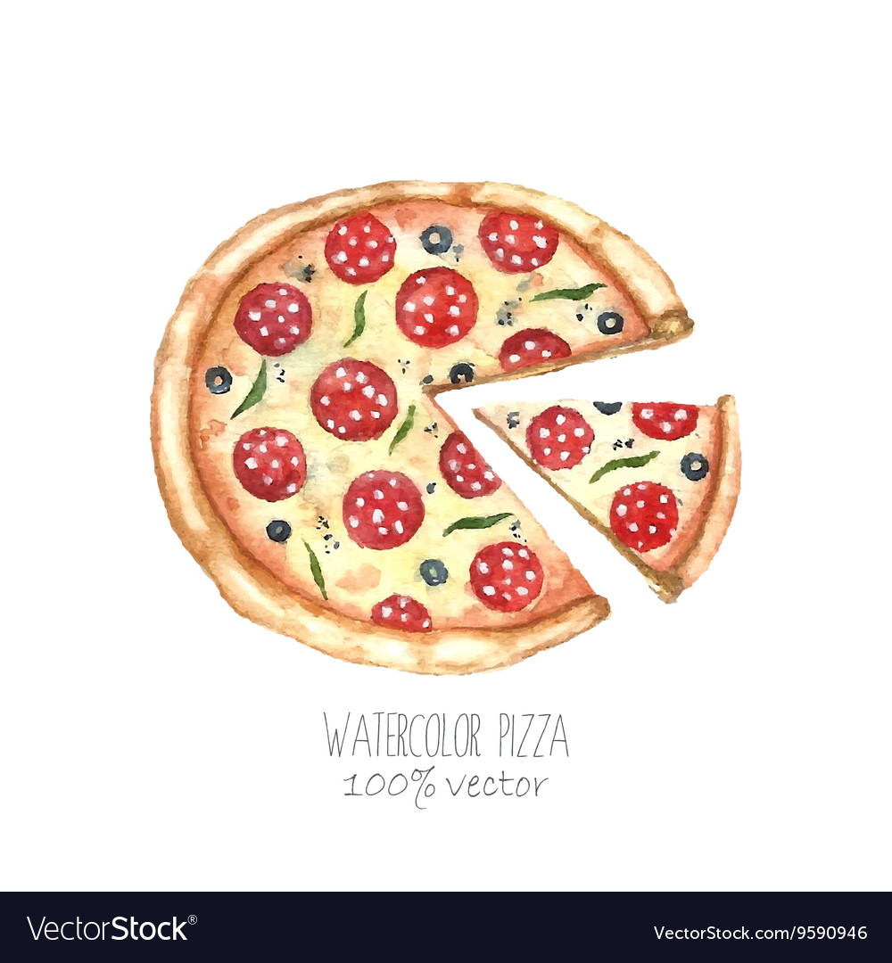 Watercolor pizza
