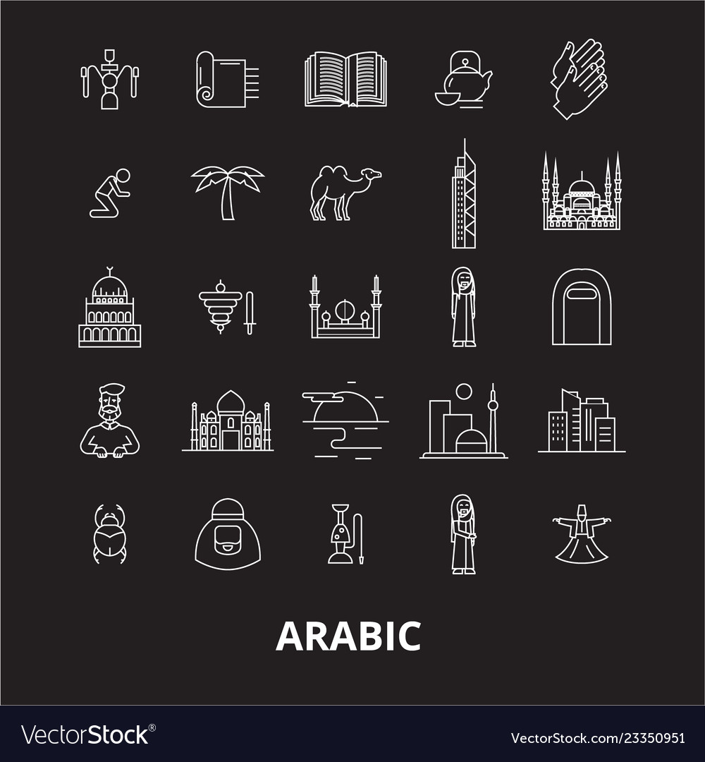 Arabic editable line icons set on black