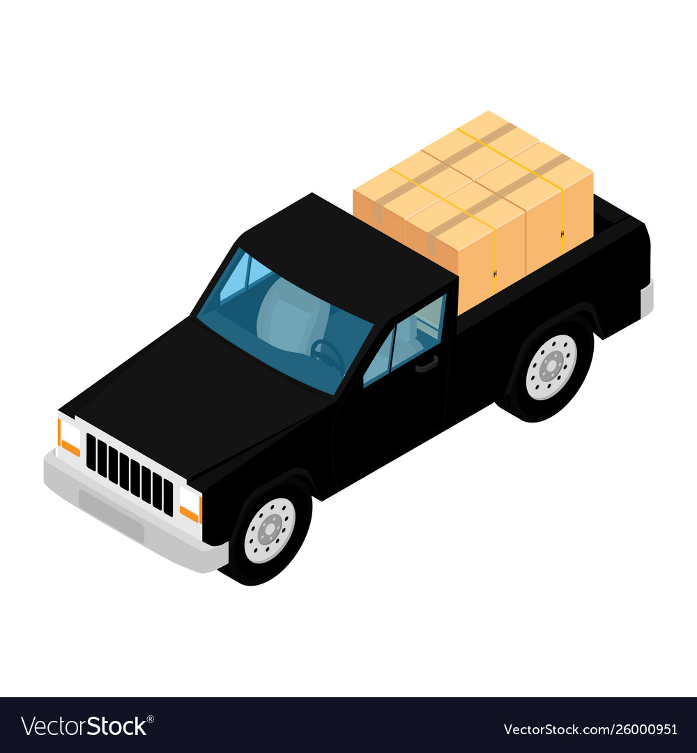 Black pickup truck deliver cardboard boxes