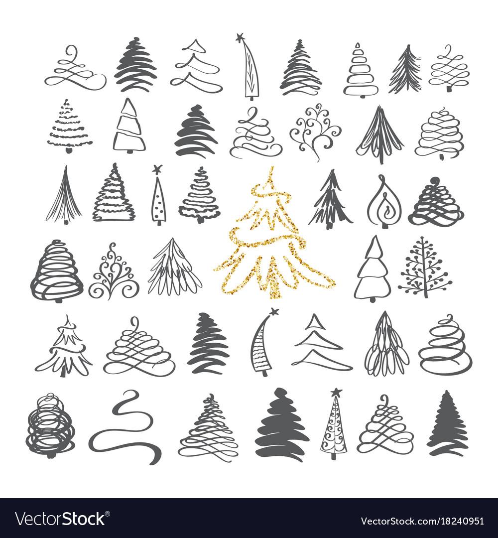 Calligraphy hand drawn set christmas tree icons