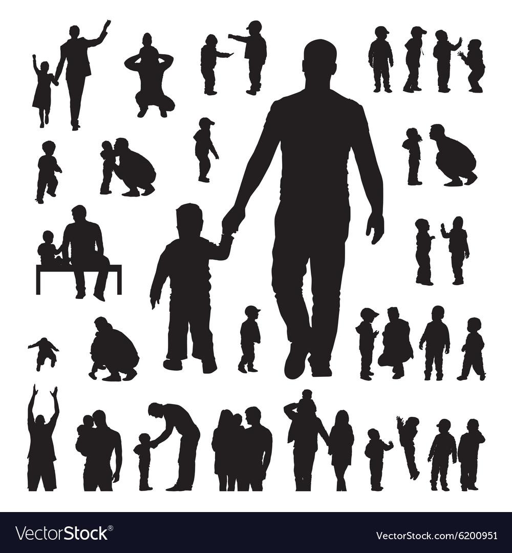 Children and parents silhouettes set