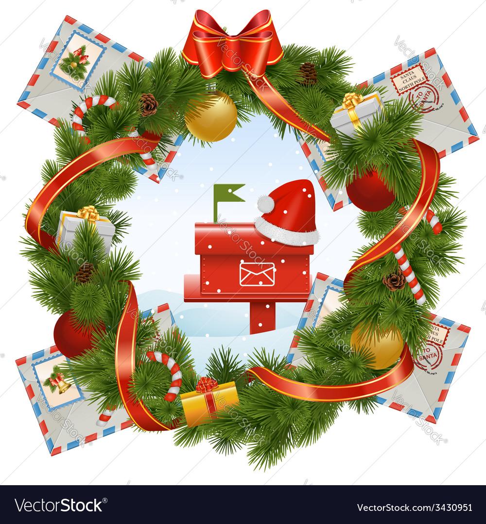 Christmas Mailbox.Christmas Wreath With Mailbox