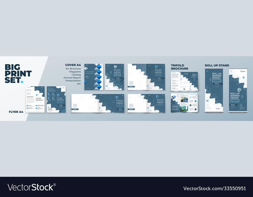 Corporate identity print template set brochure