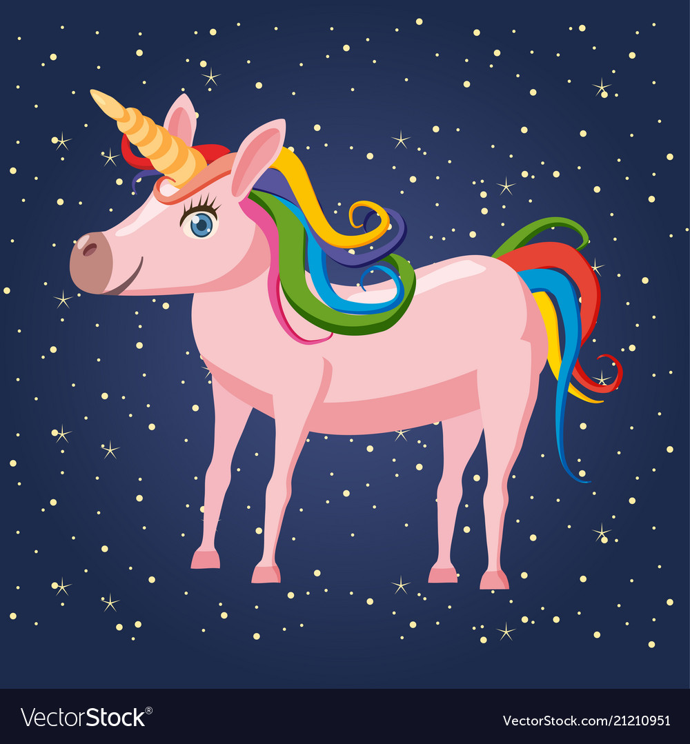 Cute cartoon unicorn on background space