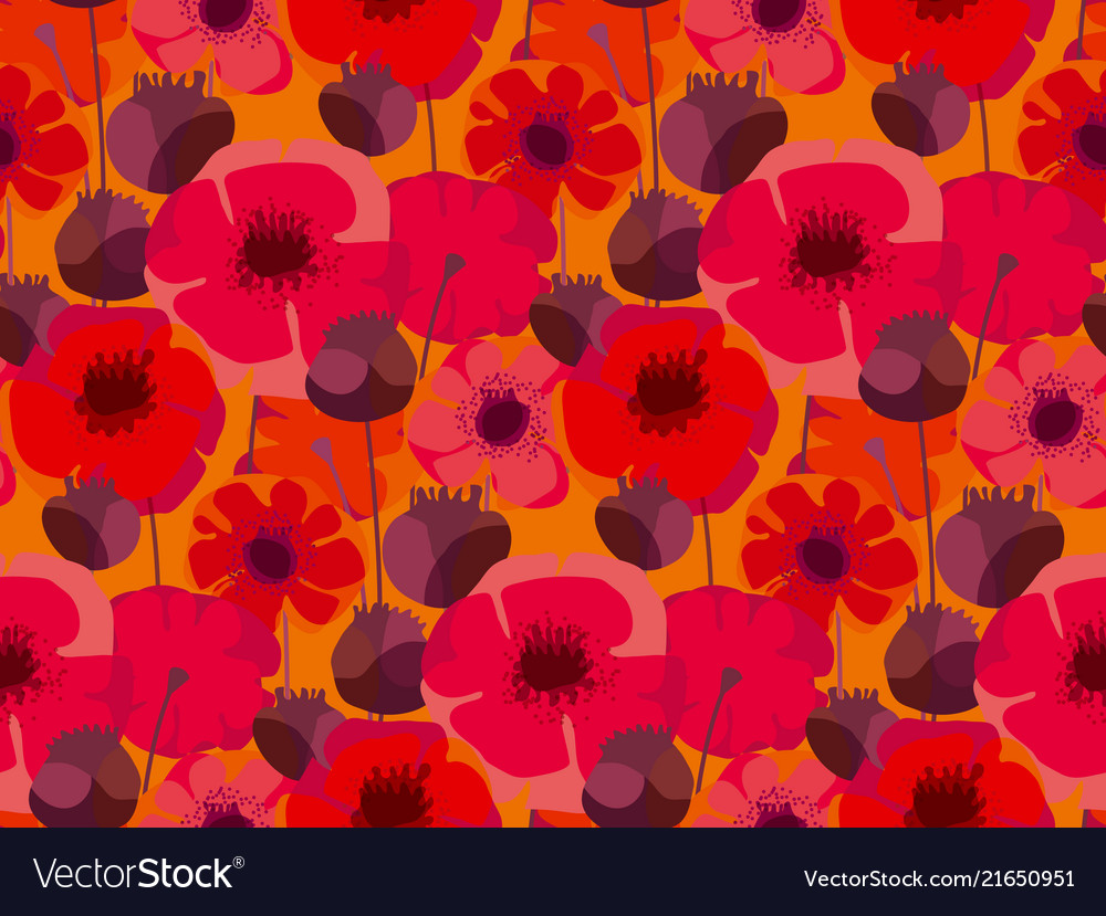 Decorative red poppy floral repeatable motif