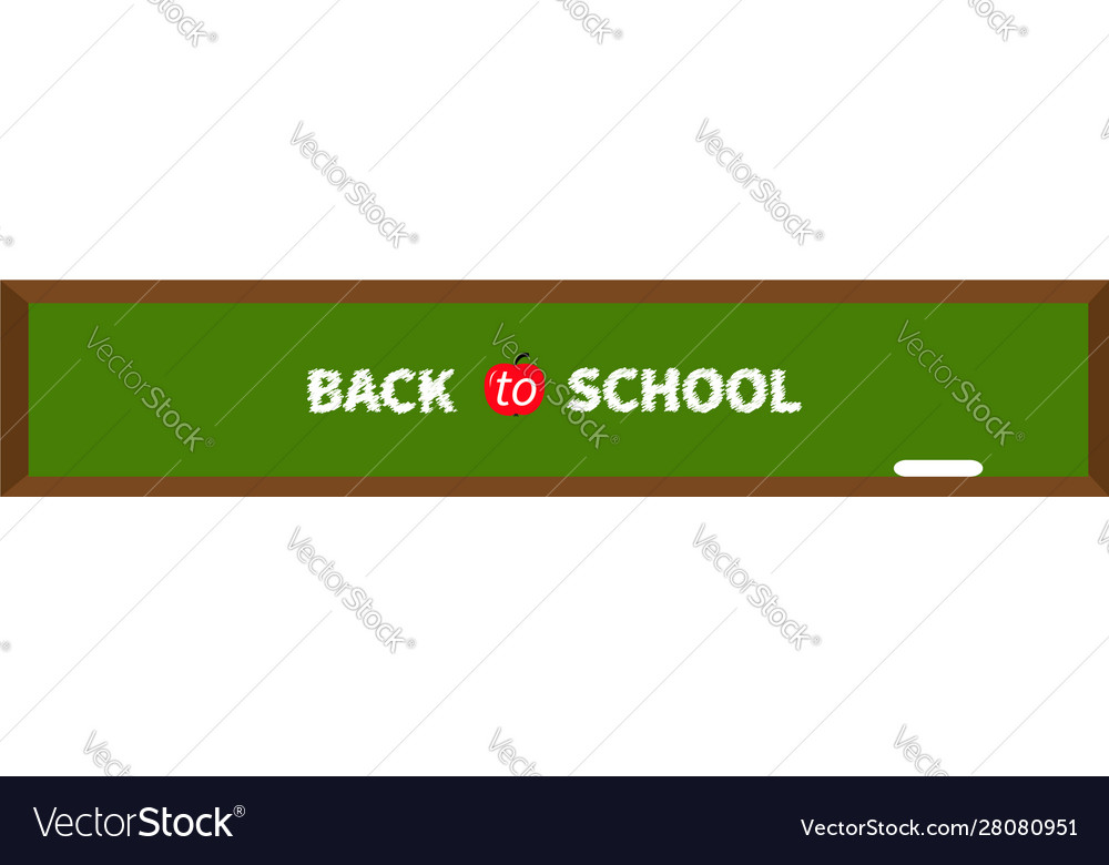 Green board with chalk back to school red apple