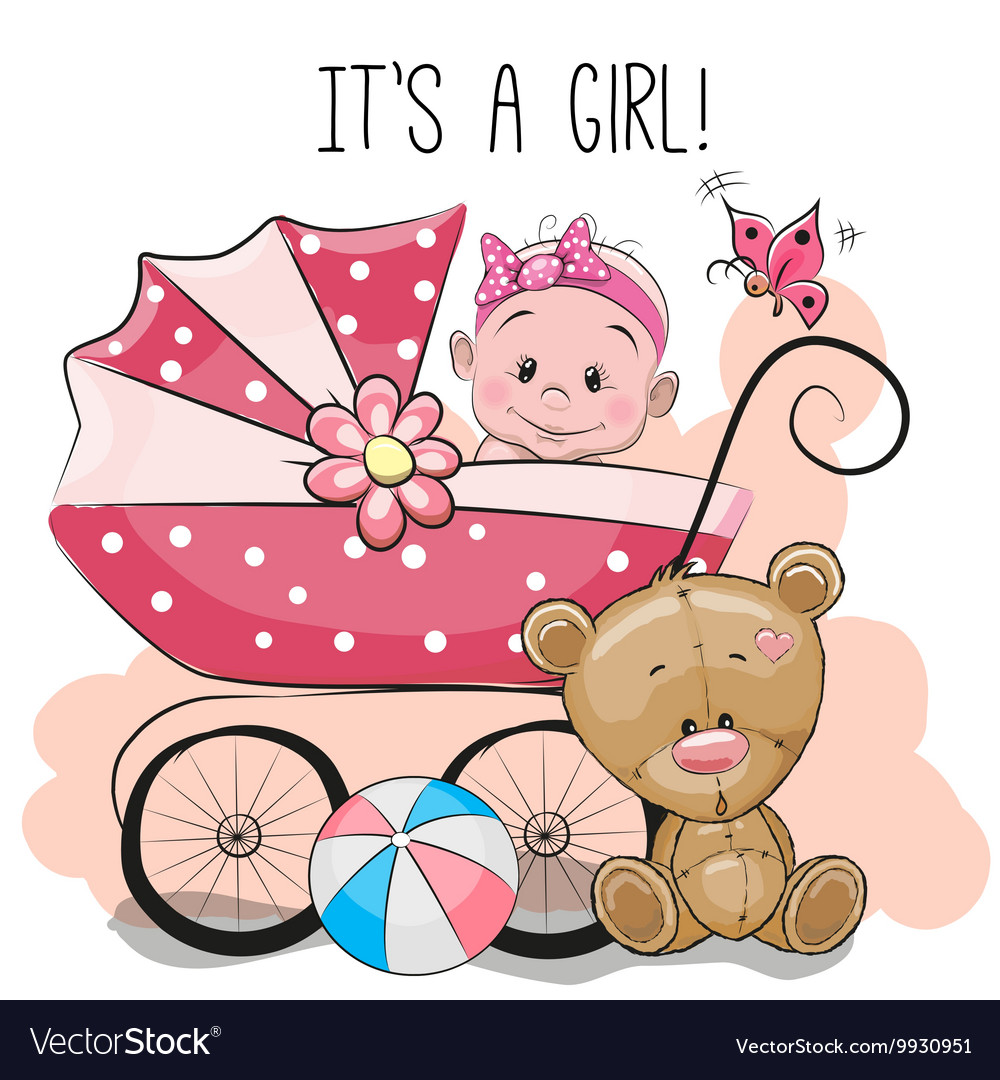 Greeting card its a girl with baby carriage and