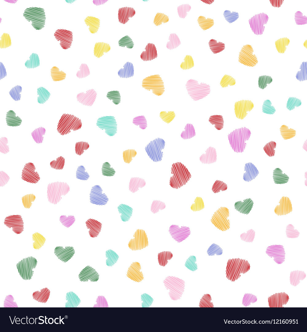 Hand drawn heart shapes pattern