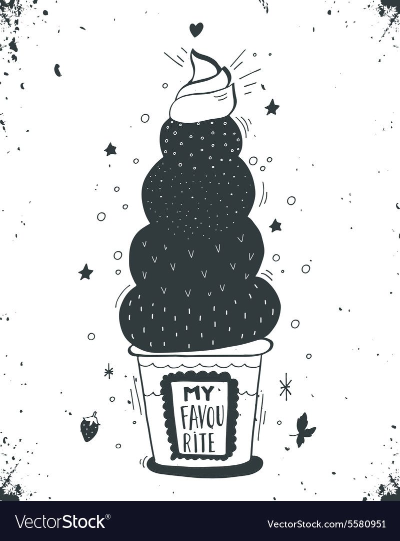 Hand drawn vintage label with ice cream and vector image