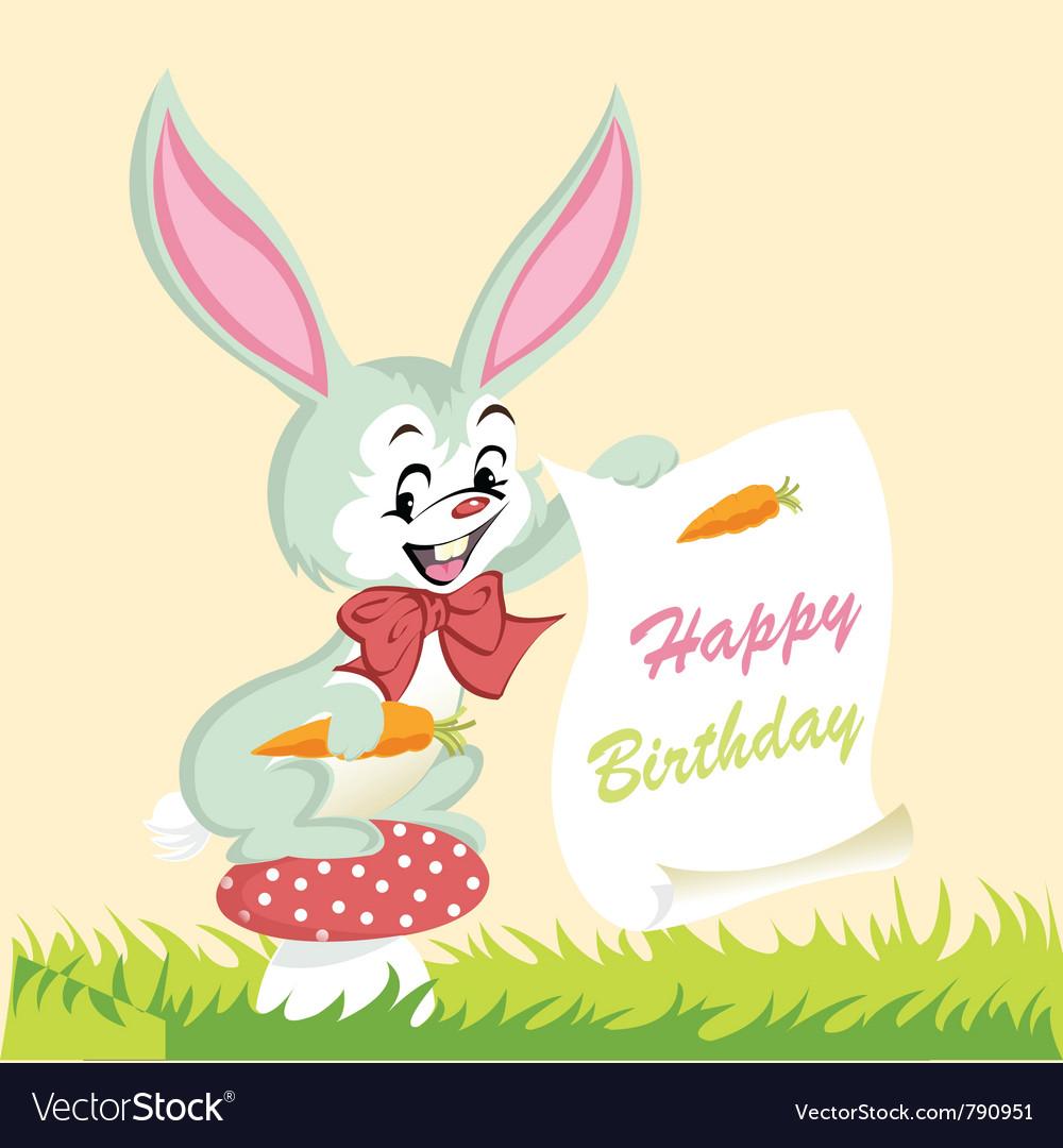 Happy birthday card cute bunny vector image