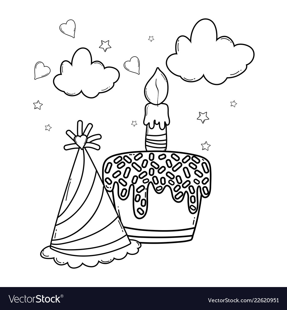 Happy Birthday Cartoons Black And White Royalty Free Vector
