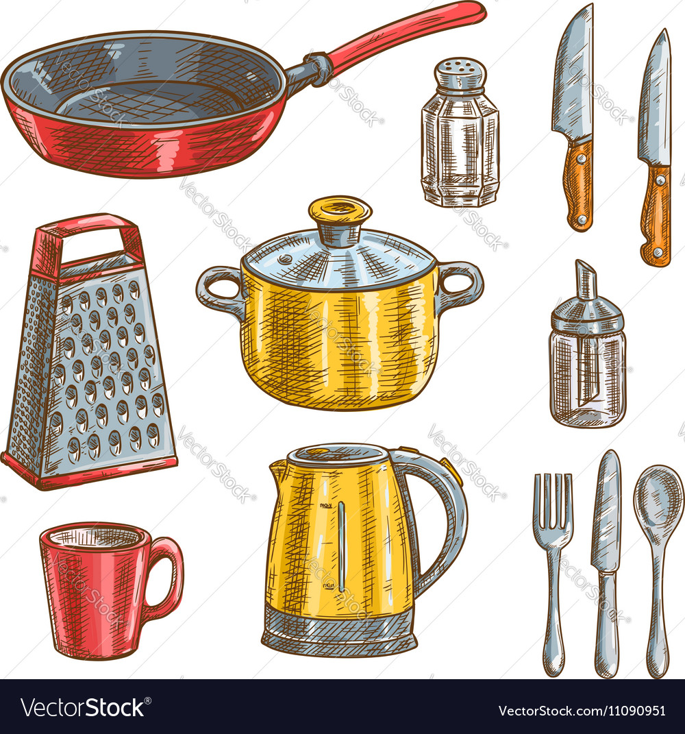 Kitchen and cooking utensils sketches
