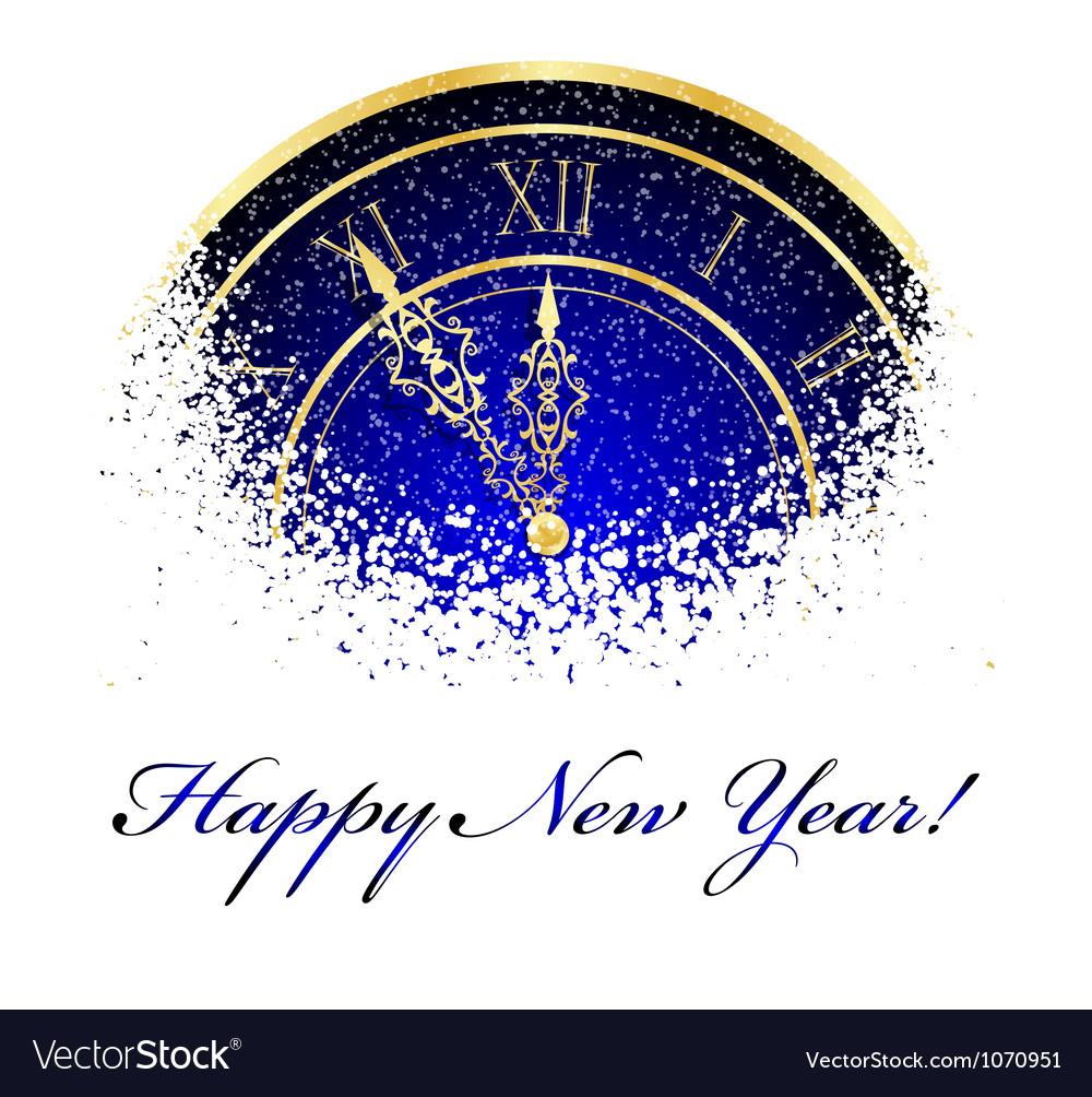 New year snow clock vector image