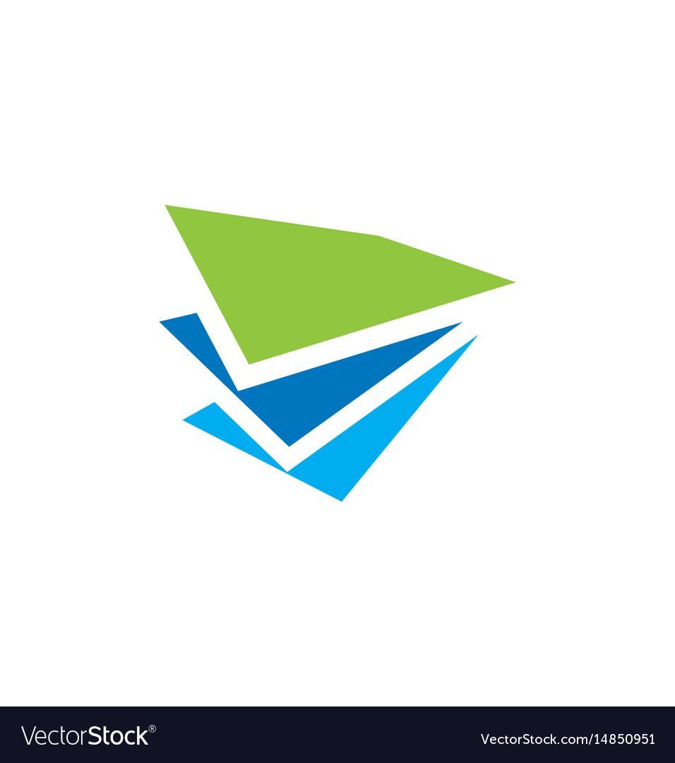 Paper shape data business finance logo vector image