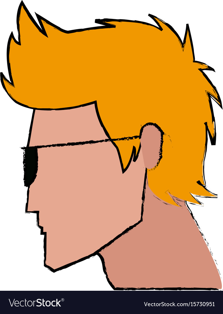 Profile man character face image vector image