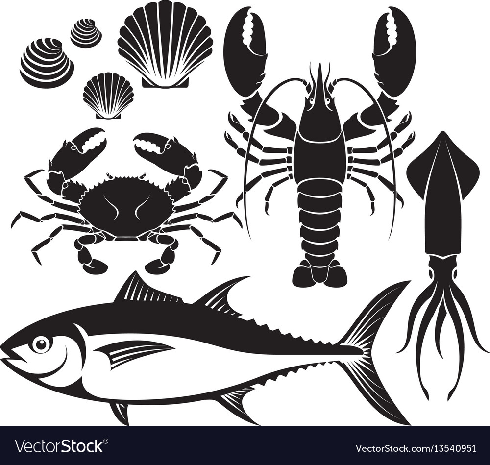 Seafood silhouette set lobster prawn crab tuna vector image
