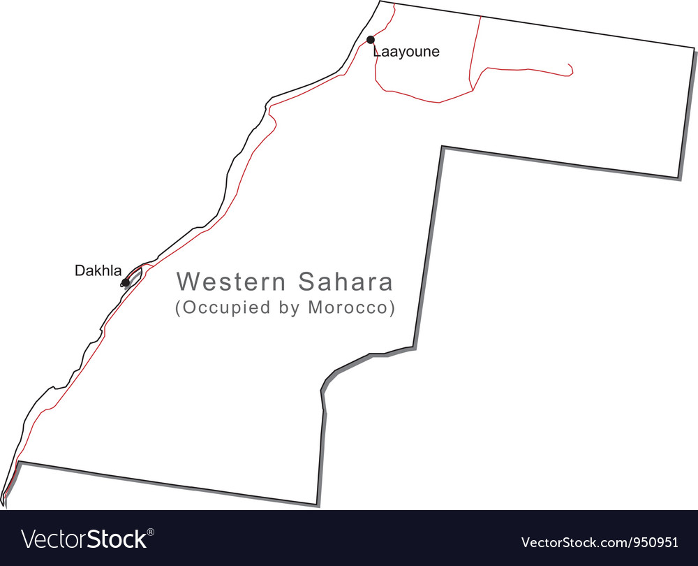 Western Sahara Black White Map with Capital a Majo vector image
