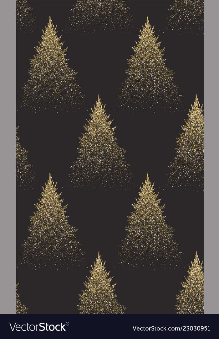 Winter seamless pattern with gold fir trees and