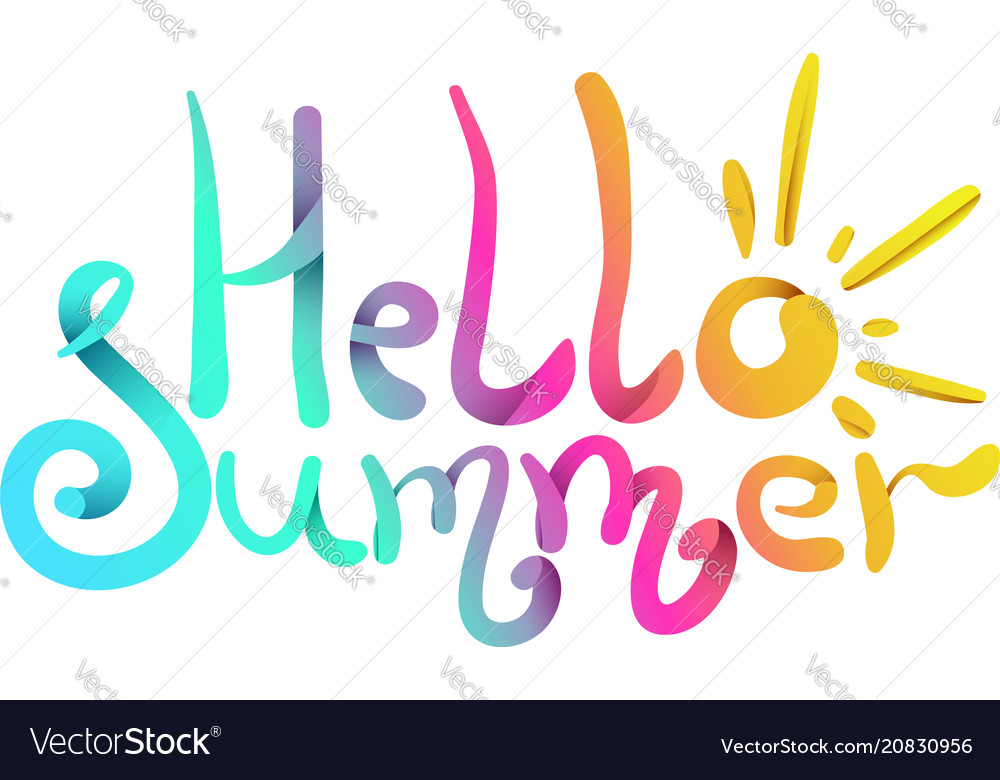 Bright colorful gradient hello summer lettering