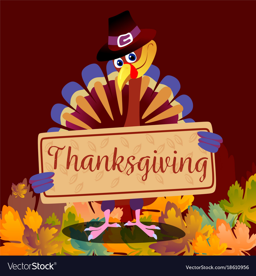Cartoon thanksgiving turkey character in hat