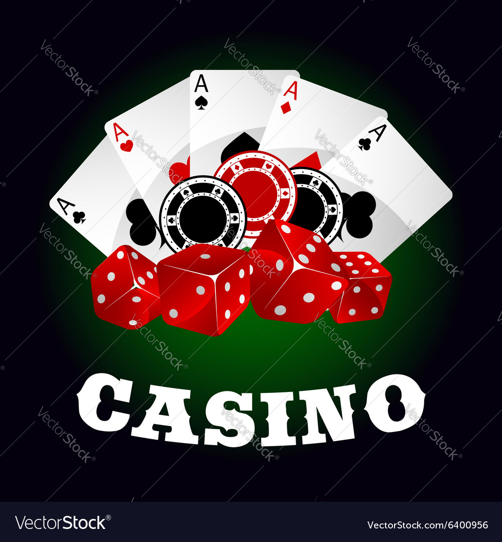 Casino icon with dice chips and poker aces