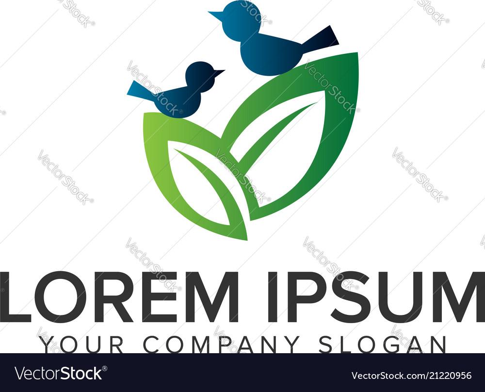 Couple leaf and bird logo design concept template