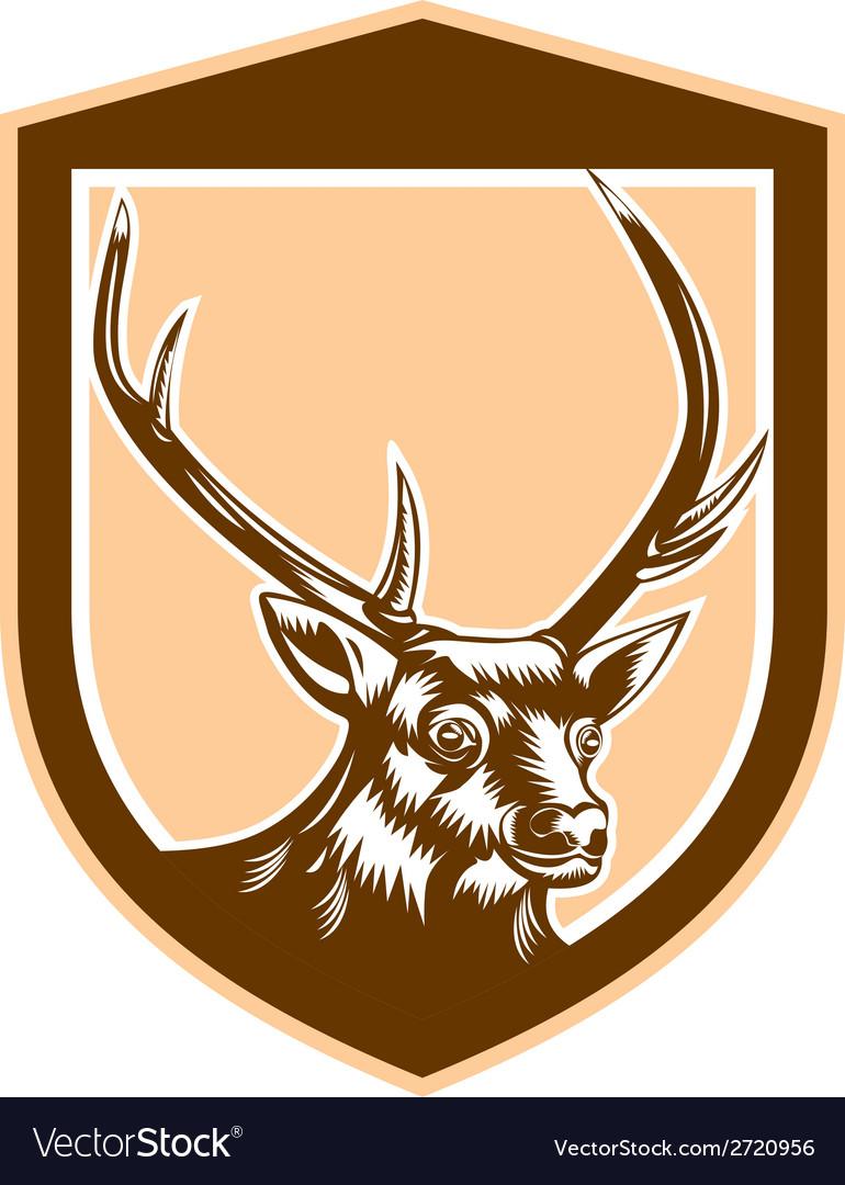 Deer Stag Buck Head Woodcut Shield