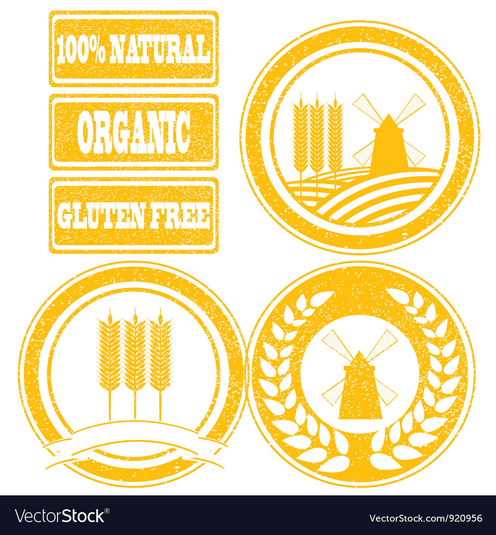 Food orange rubber stamps labels collection for